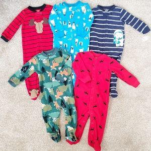 Carter's *LOT OF 5* Baby Boys 9m fleece footed PJs